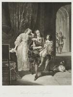 König Charles I. Stuart von England mit seinen Kindern, 19.Jh., Stahlstich