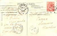 SOUTH AFRICA 1919 King George 1 d. single postage on postcard to Mauritius, rare