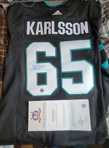 Erik Karlsson AJ Sports Addidas Authentic Pro Auto Jersey SAN JOSE SHARKS