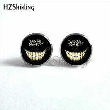 We're All Mad Here Domed Glass Stud Earrings SP Gift Alice in Wonderland UK