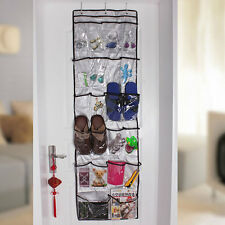 Clear Over The Door 22Pockets Shoe Clothes Sock Hanger Tidy Organizer Storage