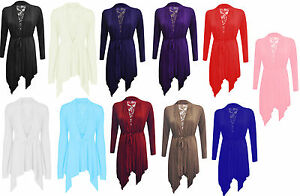 New ladies Womens Floral Lace Back Long Sleeve Flared Waterfall Cardigan UK