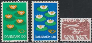 Denmak 1977 SC# 597 - 598, 599 - Five Water Lilies - Road Accident M-H Lot # 039