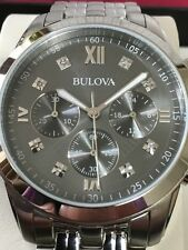 Bulova Orologio Chronografo con Brillanti Grigio Uomo Watch Mens Diamonds 96D135