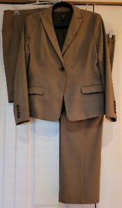 WOMEN'S ANN TAYLOR 3 PC PANTS SUIT -BROWN PINSTRIPE- FULLY LINED POLY BLEND-12P