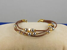 Fossil Brand Goldtone Two Tone Beaded Brown Leather Triple Strand Bracelet $48