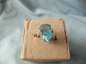 14ct Pear Shaped blue topaz Sterling Silver Ring Split Shank Size 9 QVC