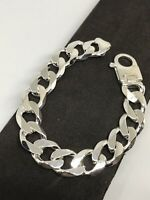 """925 Sterling Silver Solid Chunky Men 15mm CURB BRACELET 8.5"""" BRAND NEW"""