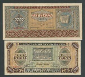 CROATIA RARE 5000 + 1000 KUNA 1943 P- 12 + 13 WWII UNC