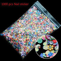 1000pcs 3D Fruit Animal Fimo Mix Slice Clay DIY Nail Art Tips Sticker Decoration