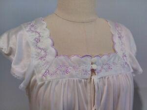 Vintage 80's Diamond Cut Lavender & White Nightgown Size 14