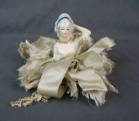 Rare Antique DRGM German Porcelain Figural Half Doll Powder Puff Vanity Restore