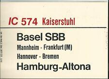 PLAQUE DE DIRECTION CHEMINS DE FER ALLEMAND BALE-HAMBURG // HAMBURG-BALE