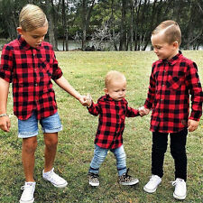 UK Stock Baby Kids Boy Girl Long Sleeve T Shirt Plaids Top Blouse Clothes Outfit