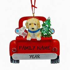 Labradoodle Puppy In Red Pick Up Truck Personalized Christmas Dog Ornament