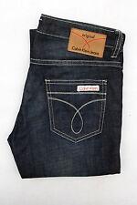 CK CALVIN KLEIN Jeans Damas Denim azul índigo desgastado y deshilachados Bootcut W27 UK10