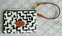 FOSSIL WRISTLET, Black & White Coated Canvas, Tan Leather Trim, Excellent