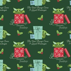 Star Wars ~ Baby Yoda Christmas Small Packages By the Yard - Cotton Fabric