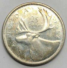 1957 Canada 25 Cent Quarter Silver Coin (G278)