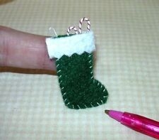 Miniature Felt Christmas Stocking (PLAIN), GREEN w/WHITE Cuff: DOLLHOUSE 1/12