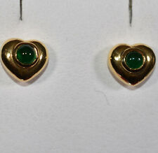 Yellow Gold Heart Earrings with Cabochon Cut Emerald