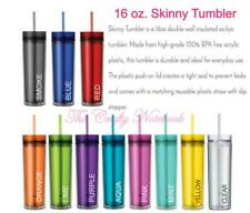 16 Ounce Skinny Acrylic Tumbler & Straw • BPA FREE • 13 Colors • FREE SHIPPING