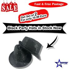 Black Trilby Sequins Fancy Dress Party Hats Hen Stag Glitter Gangster Cap Adults