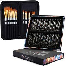 Acrylic Paint Set - 24 Colors, Artist Paint Kit with Professional Painting Brush
