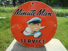 OLD VINTAGE MINUTE MAN SERVICE PORCELAIN TIRES ADVERTISING SIGN