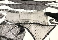 Antique Large Lot Of Damaged Black Lace For Re Use Dolls Clothes Etc ?