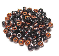 100 Black Copper Preciosa Czechoslovakian Glass 9mm Crow Pony Beads