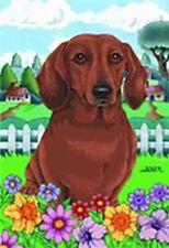 Outdoor Garden Flag Dachshund Dog Breed Spring Colors Small Flag made Usa