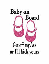 Baby on Board / Text is WHITE / Pink  Glitter Feet