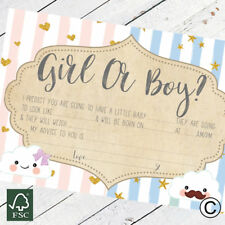 Baby Shower Games Prediction and Advice To Parent Cards Keepsake Baby Boy Girl