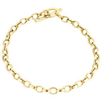 """Womens Real 14K Yellow Gold Rolo Link Fancy Toggle Bar Charm Bracelet 4mm   7"""""""