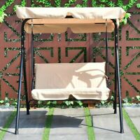 Columpio De Acero Para Jardin Patio Balcon Asiento Ajustable Canopy Impermeable