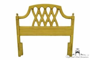 STANLEY FURNITURE French Provincial Cream / Yellow Painted Twin Size Headboar...