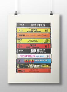 Elvis Presley Poster: Cassette Print, Original Elvis Albums, Fan, Gift, Art