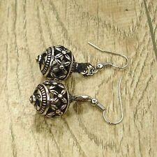 Vintage Tibet Silver Tone Earrings Ball Flora Dangle Women Charm Costume Jewelry