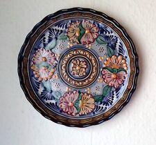 Wandteller Mexiko Puebla farbiges Dekor mit floralem Muster,Profil-Malerei,24 cm