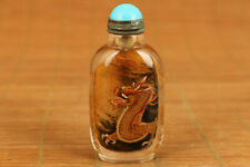 unique chinese Natural old Crystal hand inside painting dragon snuff bottle