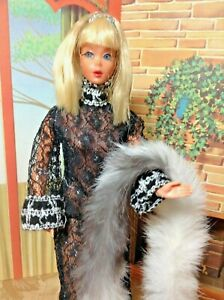 Vintage Mattel Blonde Living Barbie with Black Lace and Silver Outfit