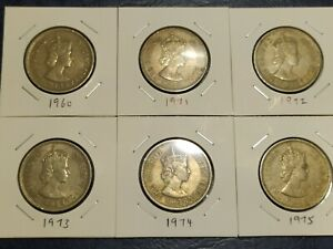 Hong Kong 1 Dollar Queen Head Coins (6 Difference Years)