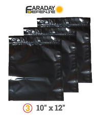 3 Faraday Cage ESD/EMP Bags NOTEBOOK Preppers / Survivalists 10 x 12 3/pk