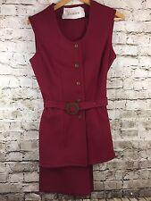 Vintage Sleeveless Shirt Bellbottom Pant Suit Size 12 Burgundy Red Jantzen Belt