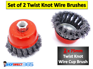 2PIECE TWIST KNOT SEMI FLAT WIRE WHEEL CUP BRUSH SET FOR 115mm ANGLE GRINDER 3-8