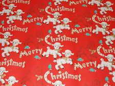 VTG CHRISTMAS WRAPPING PAPER GIFT WRAP MCM MERRY LAMBS GOLD RIBBON 1950 HOLLY