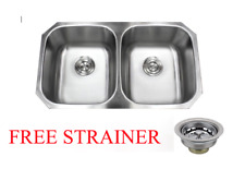 "NEW 32"" Stainless Steel Double 50/50 Bowl 18 Gauge Undermount Kitchen Sink"