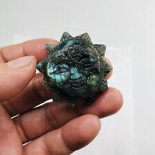 Natural labradorite crystal product hand-carved sun god 37g