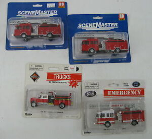HO Railroad Fire Department Lot of 4 Fire Trucks 2 Boley & 2 Scene Master Sealed